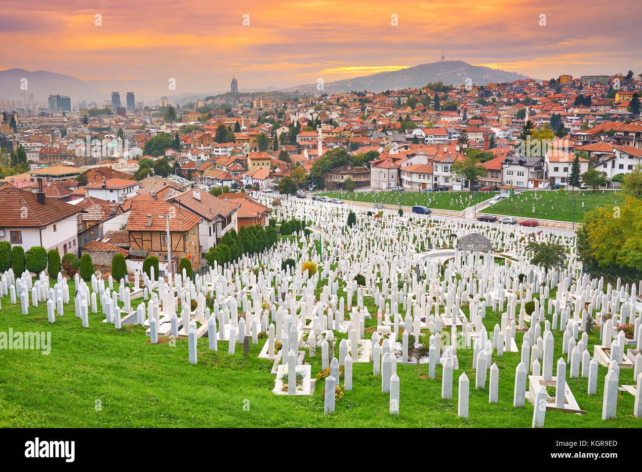 Kovaci war cemetery and Sarajevo cityscape, Bosnia and Herzegovina - Stock Image