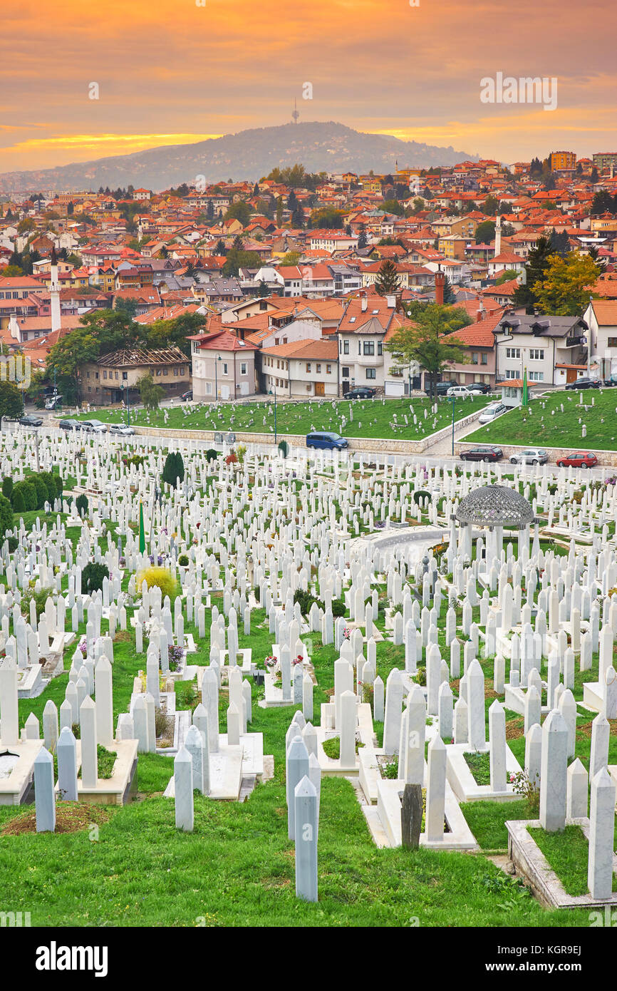 Kovaci war cemetery and Sarajevo cityscape, Bosnia and Herzegovinafamous place - Stock Image