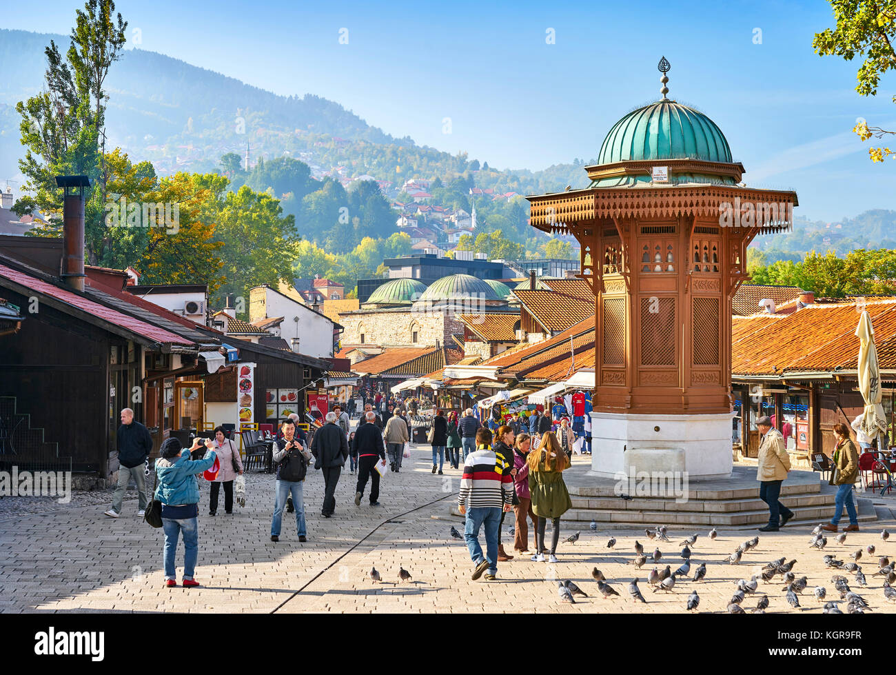 Sebilj Fountain, Bascarsija district, Sarajevo Old Town, Bosnia and Herzegovina - Stock Image