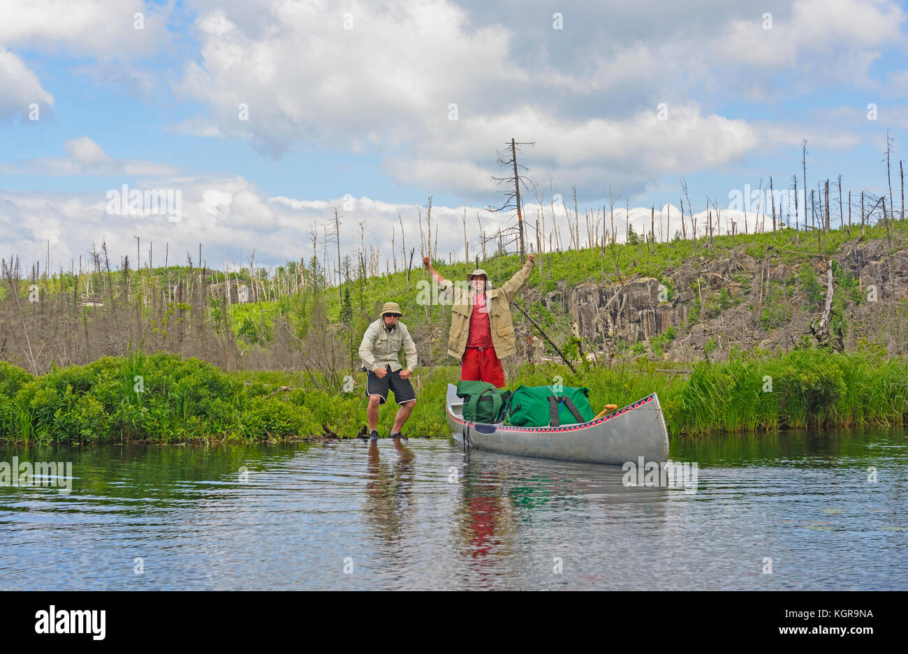 Made it over the Portage onto Kiskadinna Lake in the Boundary Waters in Minnesota - Stock Image