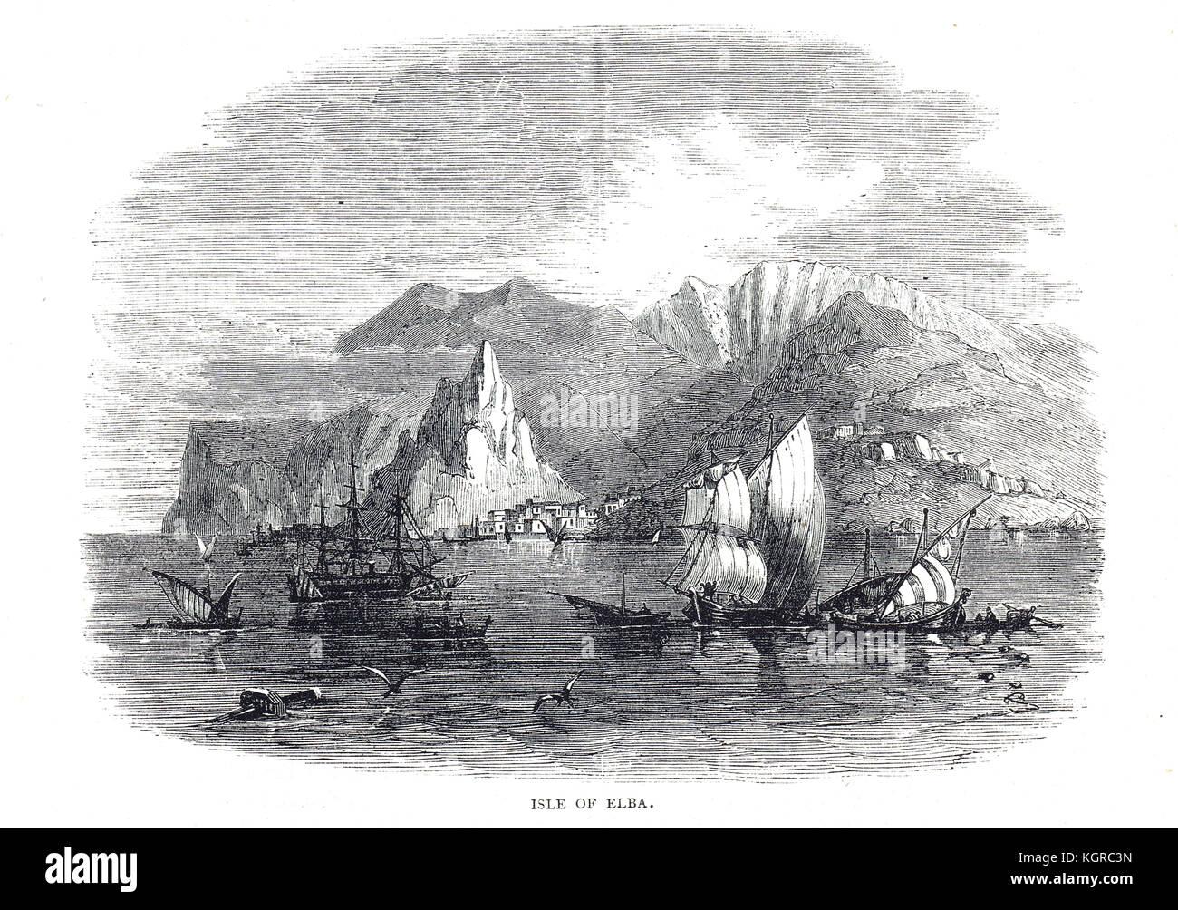Isle of Elba, 19th century engraving - Stock Image