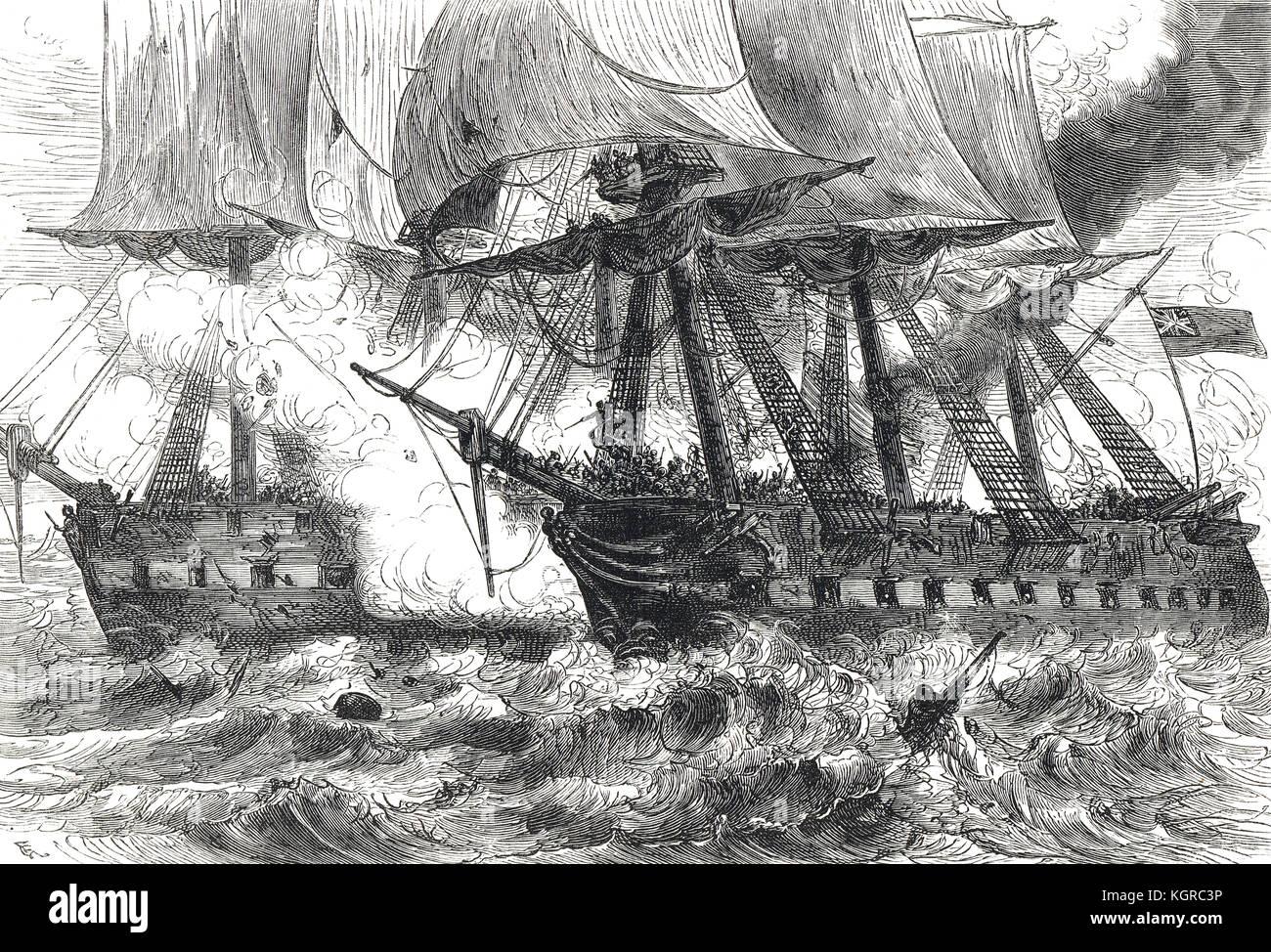 The Battle of Boston Harbor, 1 June 1813, Capture of USS Chesapeake, War of 1812 Stock Photo