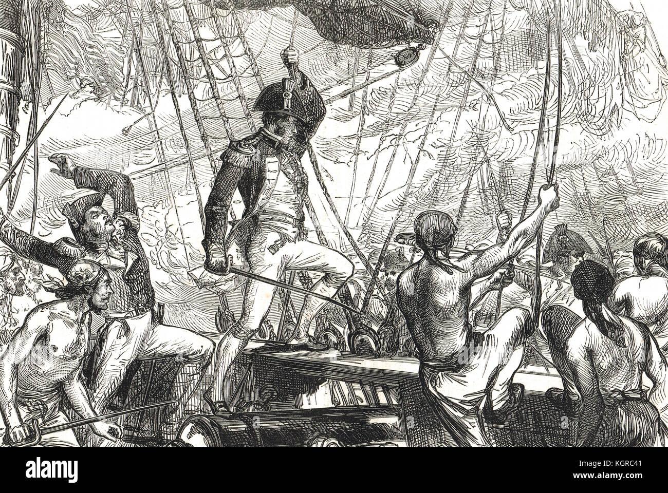 British boarding parties, boarding USS Argus, 14 August 1813, War of 1812 - Stock Image