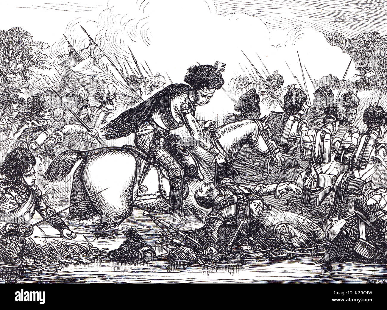 Colonel John Cameron and the Gordon Highlanders, crossing the River at the Battle of the Nive, 9 December 1813 - Stock Image
