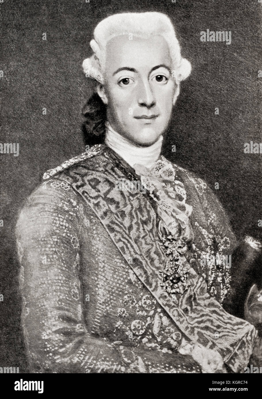Gustav III, 1746 – 1792.  King of Sweden.  From Hutchinson's History of the Nations, published 1915. - Stock Image