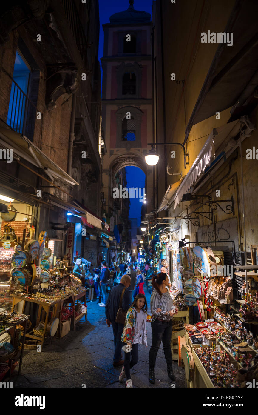 NAPLES, ITALY - OCTOBER 16, 2017: Night time view of the 'Christmas Alley' (Via San Gregorio Armeno) home - Stock Image