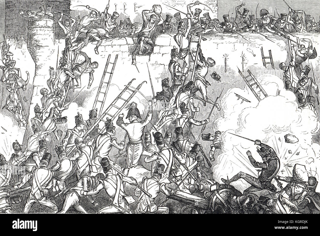Siege of Badajoz, The storming of Badajoz, Spain, 1812 - Stock Image