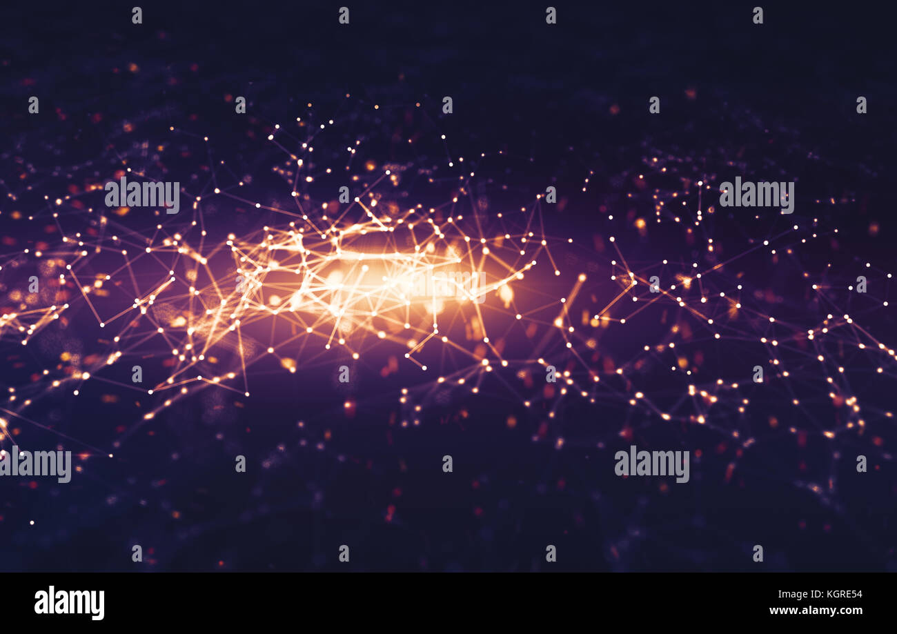 Abstract doted dark purple space background. Connecting dots and lines. Illustration for branding, science, wallpaper, - Stock Image