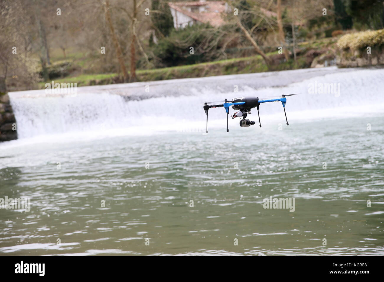 View of drone flying over river - Stock Image