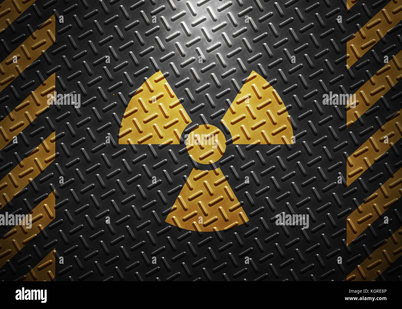 Abstract grey metal sheet texture with yellow caution tape and radiation warning sign, material design for background, - Stock Image