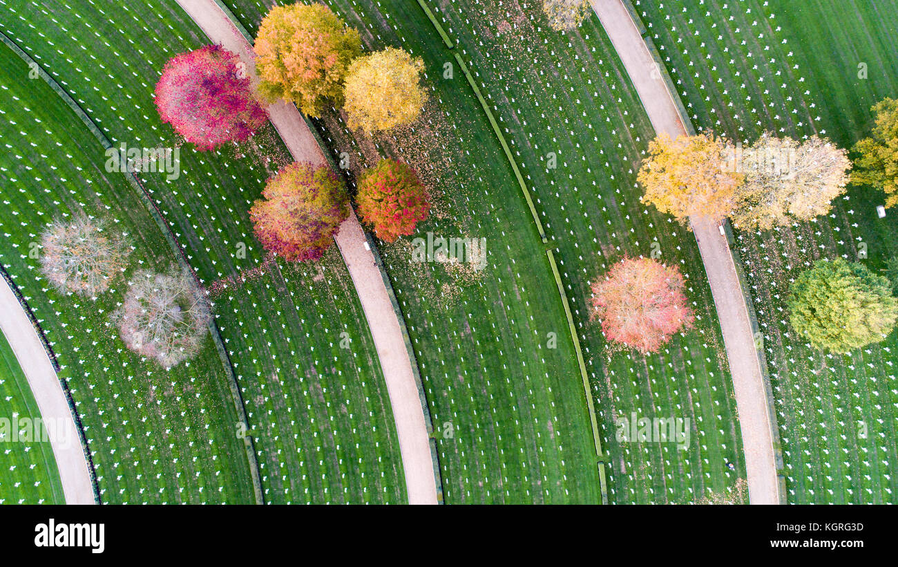 Aerial picture shows the only American War Cemetery in Britain having the autumn leaves cleared in preparation for Stock Photo