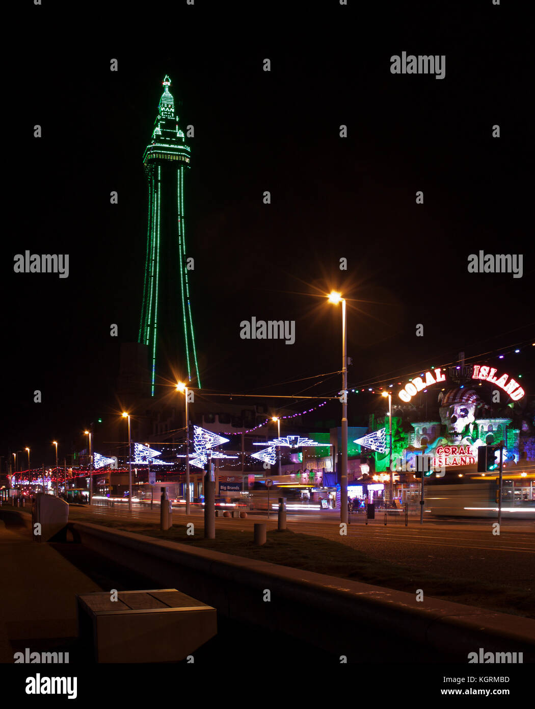 The green tower during Blackpool Illuminations Stock Photo