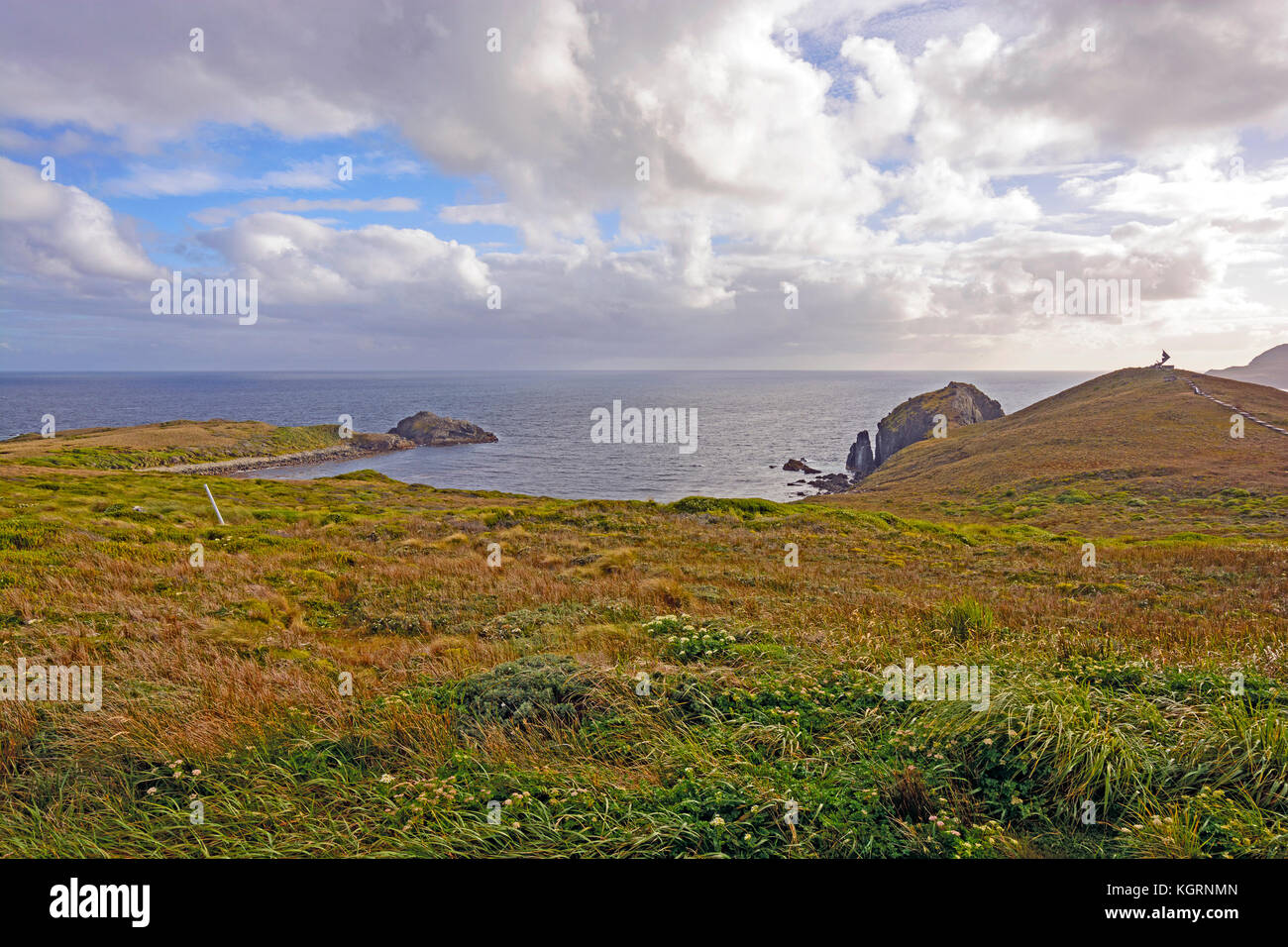 Looking South to the open ocean from Cape Horn in Chile - Stock Image