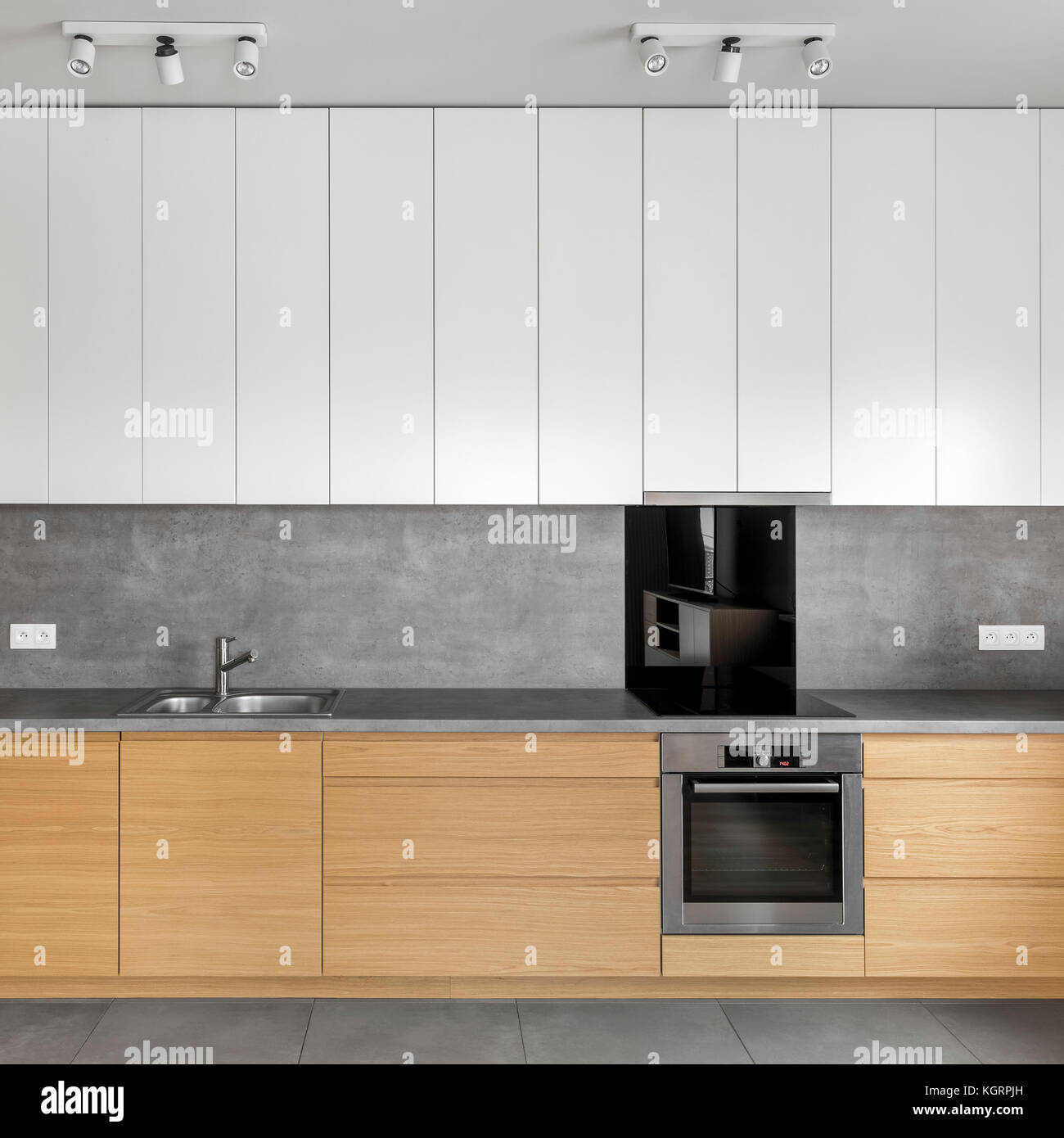 Grey Kitchen With Wooden Cabinets Granite Worktop And White Stock - Grey kitchen white worktop