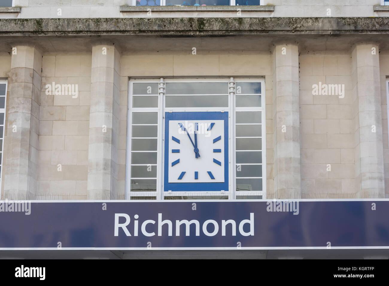 Art Deco frontage of Richmond Underground Station, Richmond, London Borough of Richmond upon Thames, Greater London, - Stock Image
