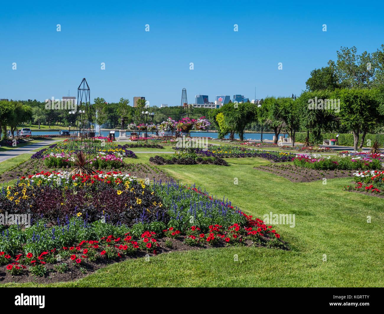 Queen Elizabeth II Gardens, Wascana Centre, Regina, Saskatchewan, Canada. - Stock Image