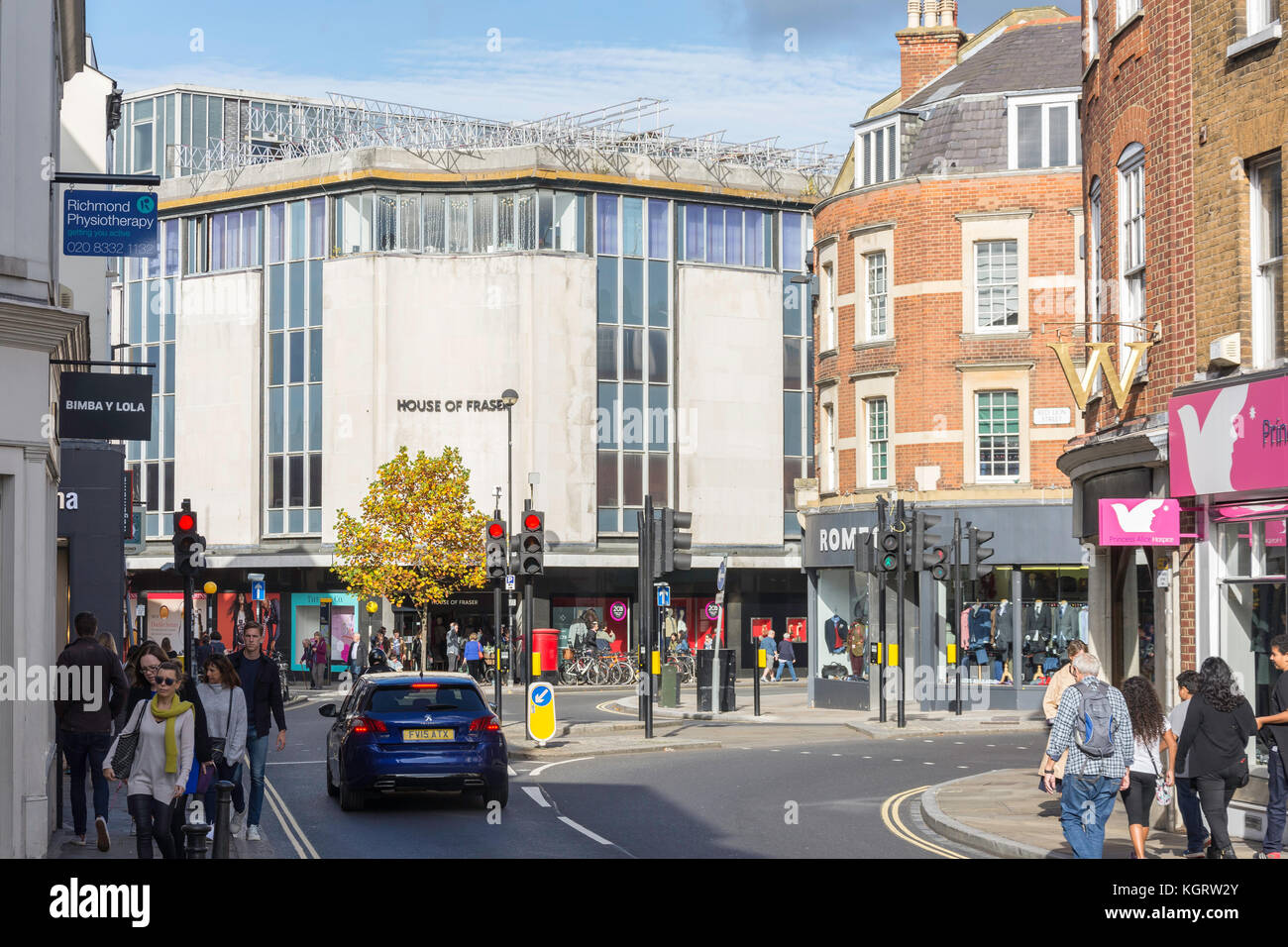 House of Fraser department store from Hill Street, Richmond, London Borough of Richmond upon Thames, Greater London, - Stock Image
