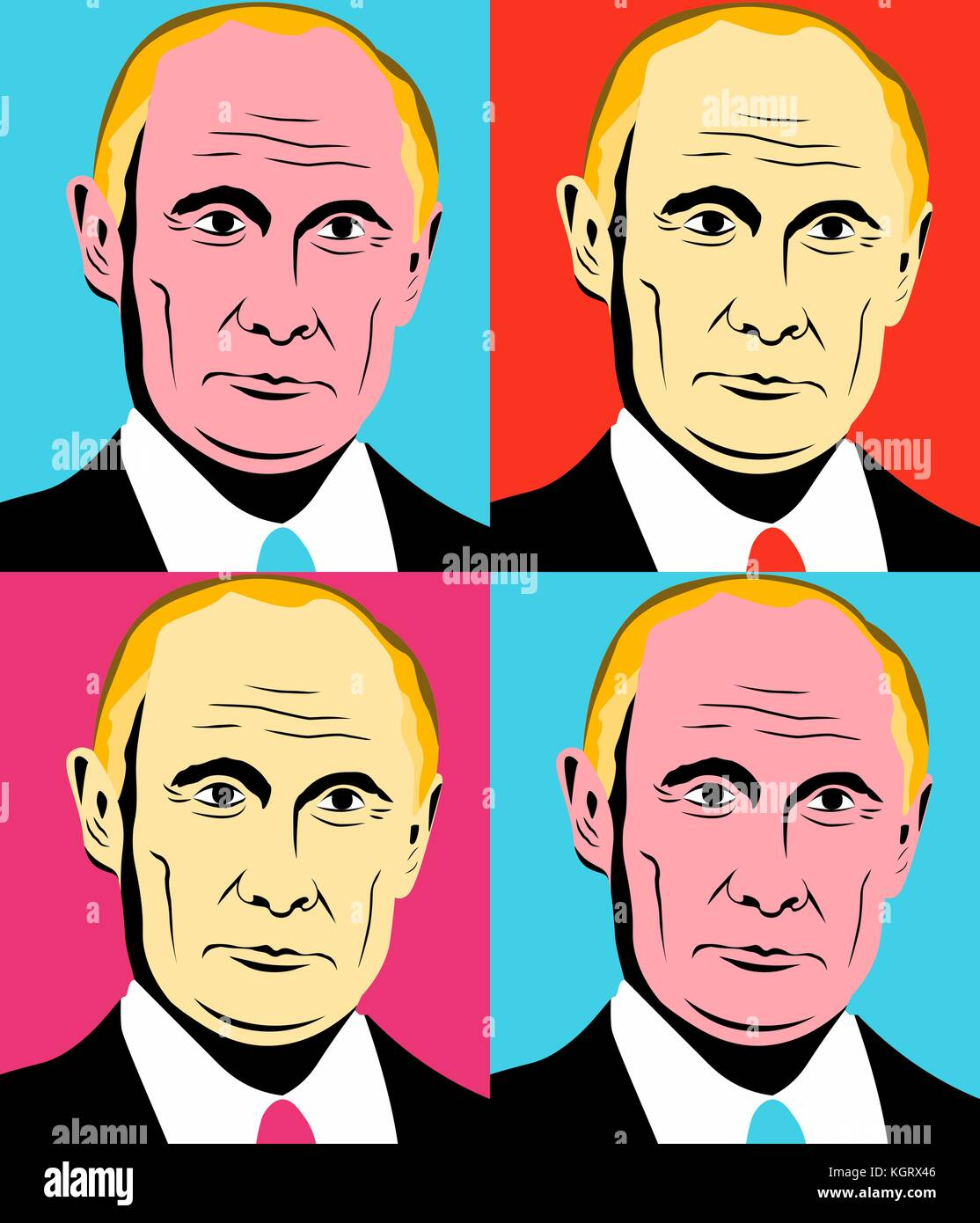 November 10 2017 Editorial illustration of the Russian Federation President Vladimir Putin in Andy Warhol style. - Stock Image