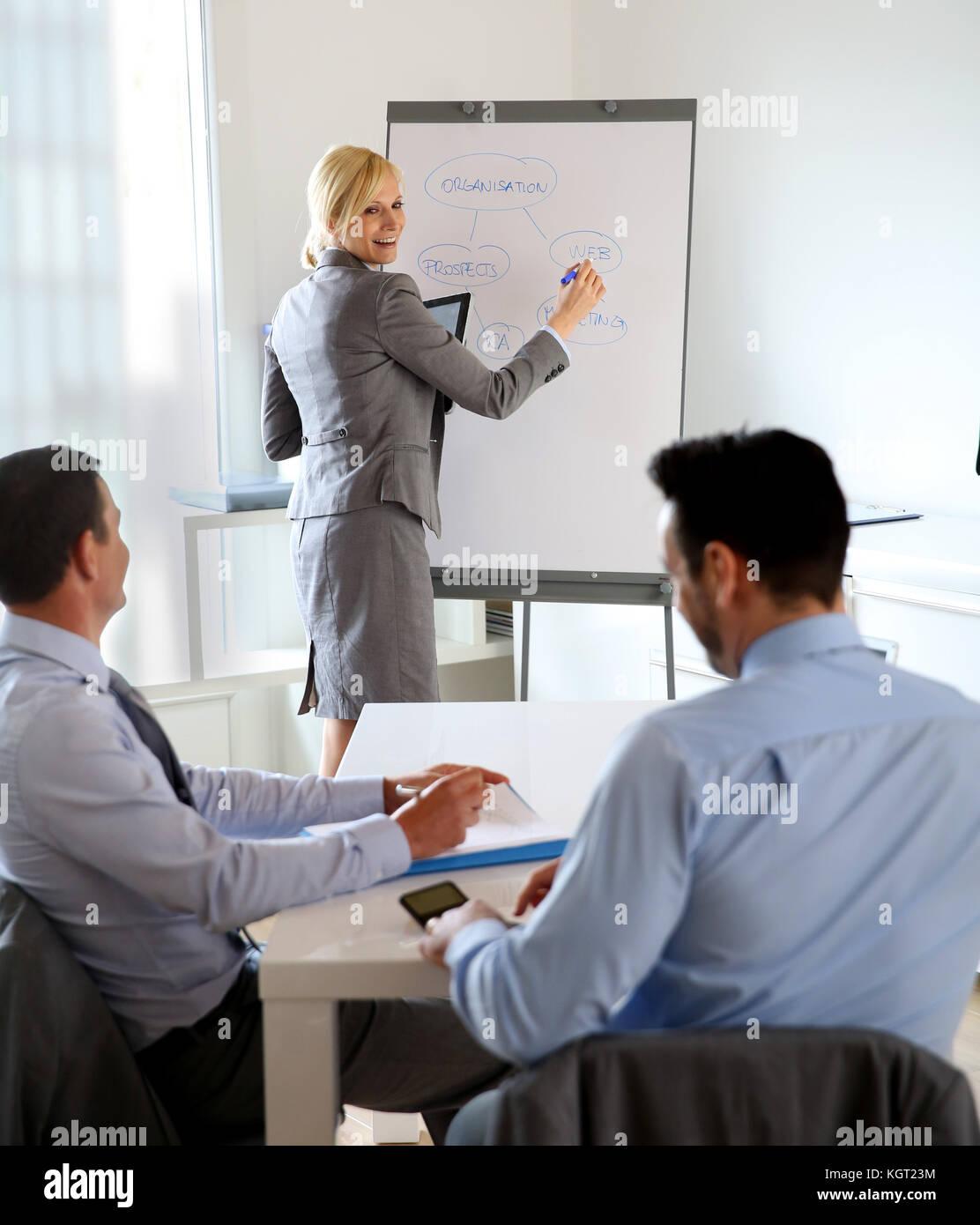 Businesswoman doing business presentation - Stock Image