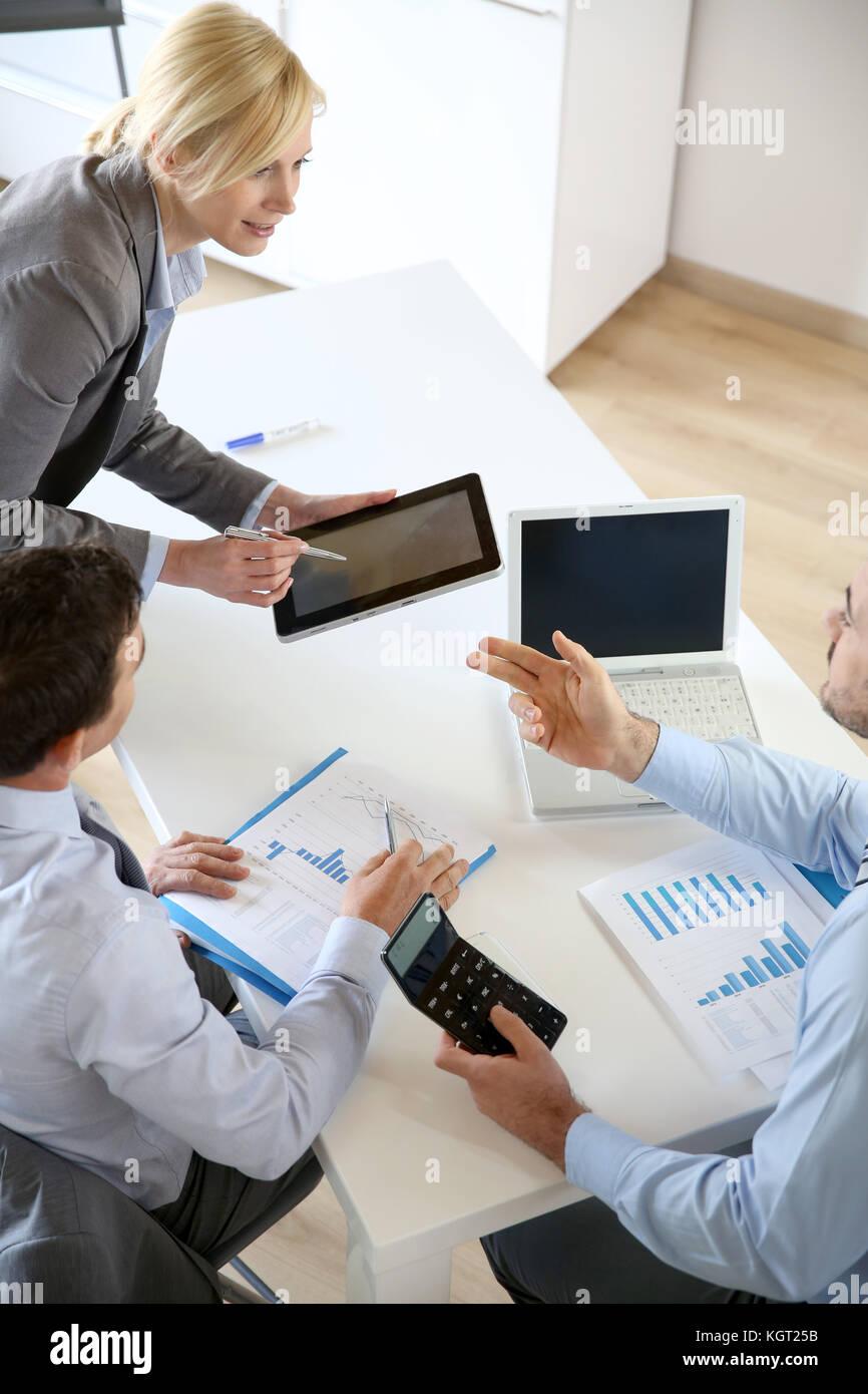 Executive woman making business presentation - Stock Image