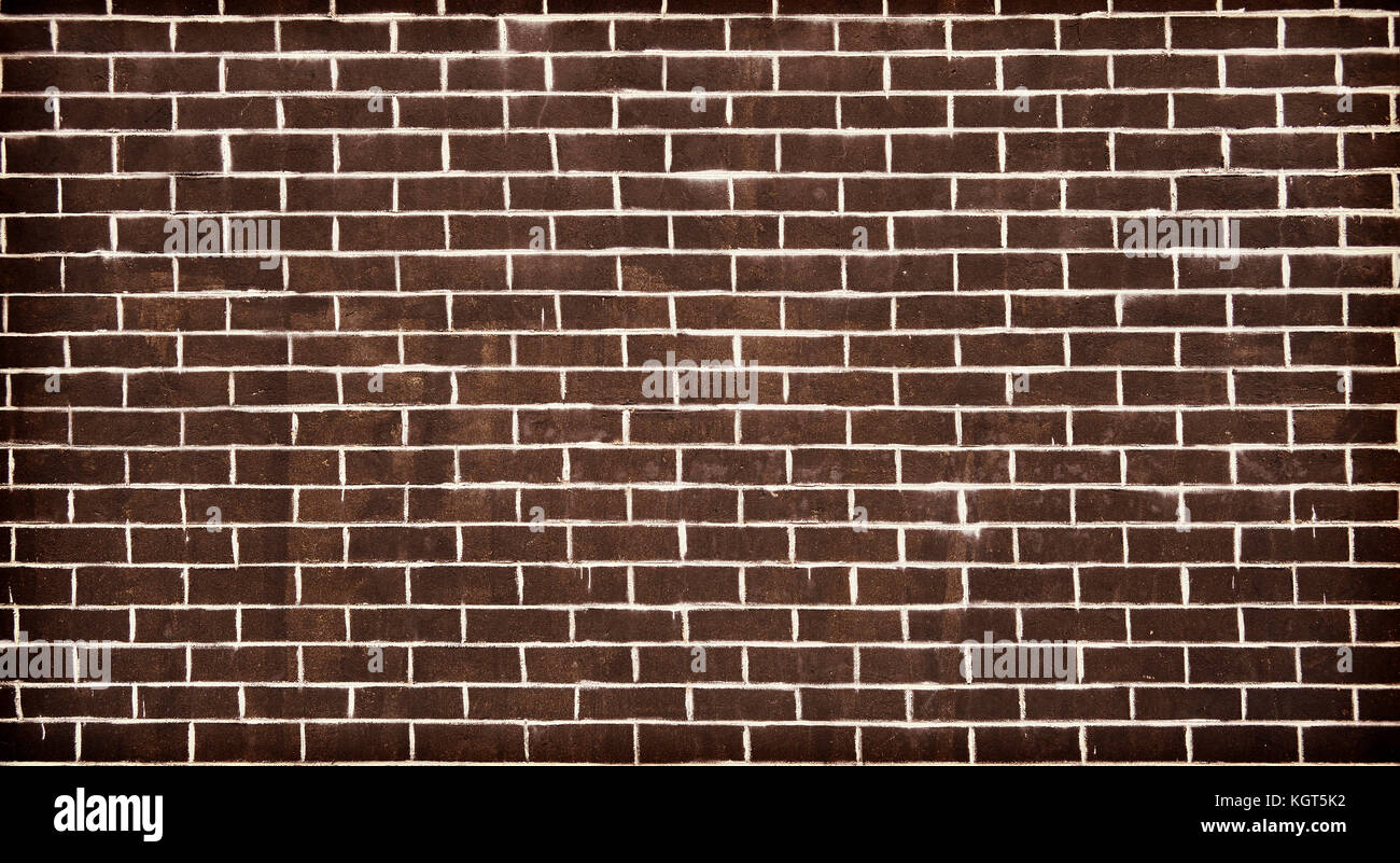 Old Dark Brick Wall Texture Or Background, Color Toned