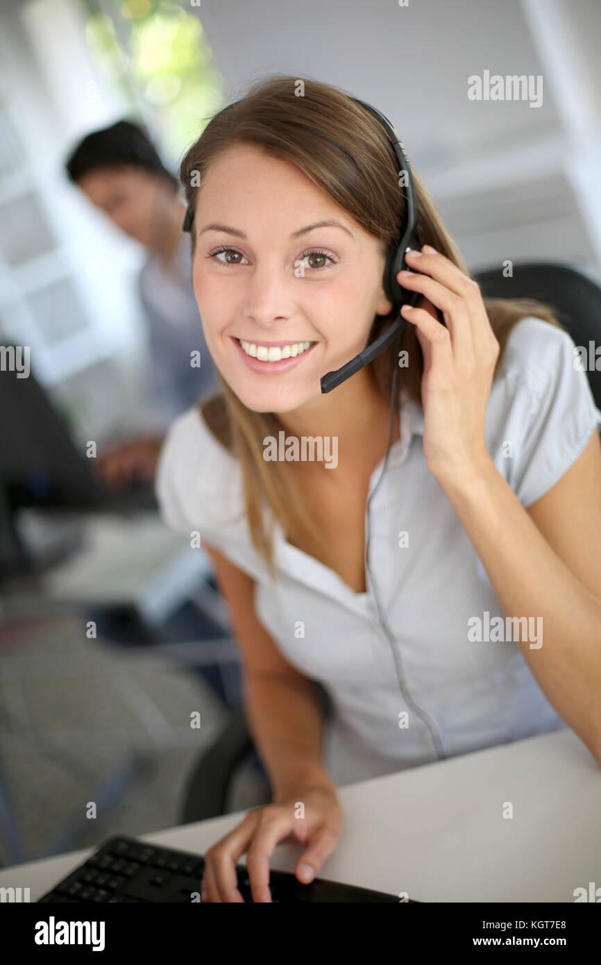 Portrait of beautiful customer service representative Stock Photo
