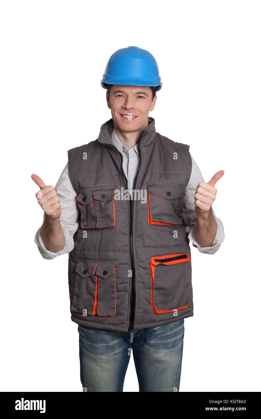 Foreman standing on white background - Stock Image