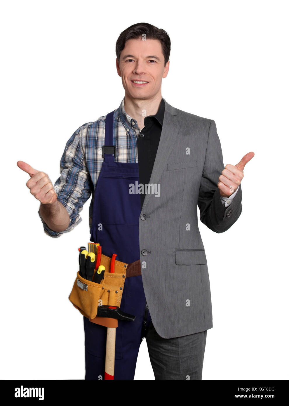 Carpenter and businessman on white background - Stock Image