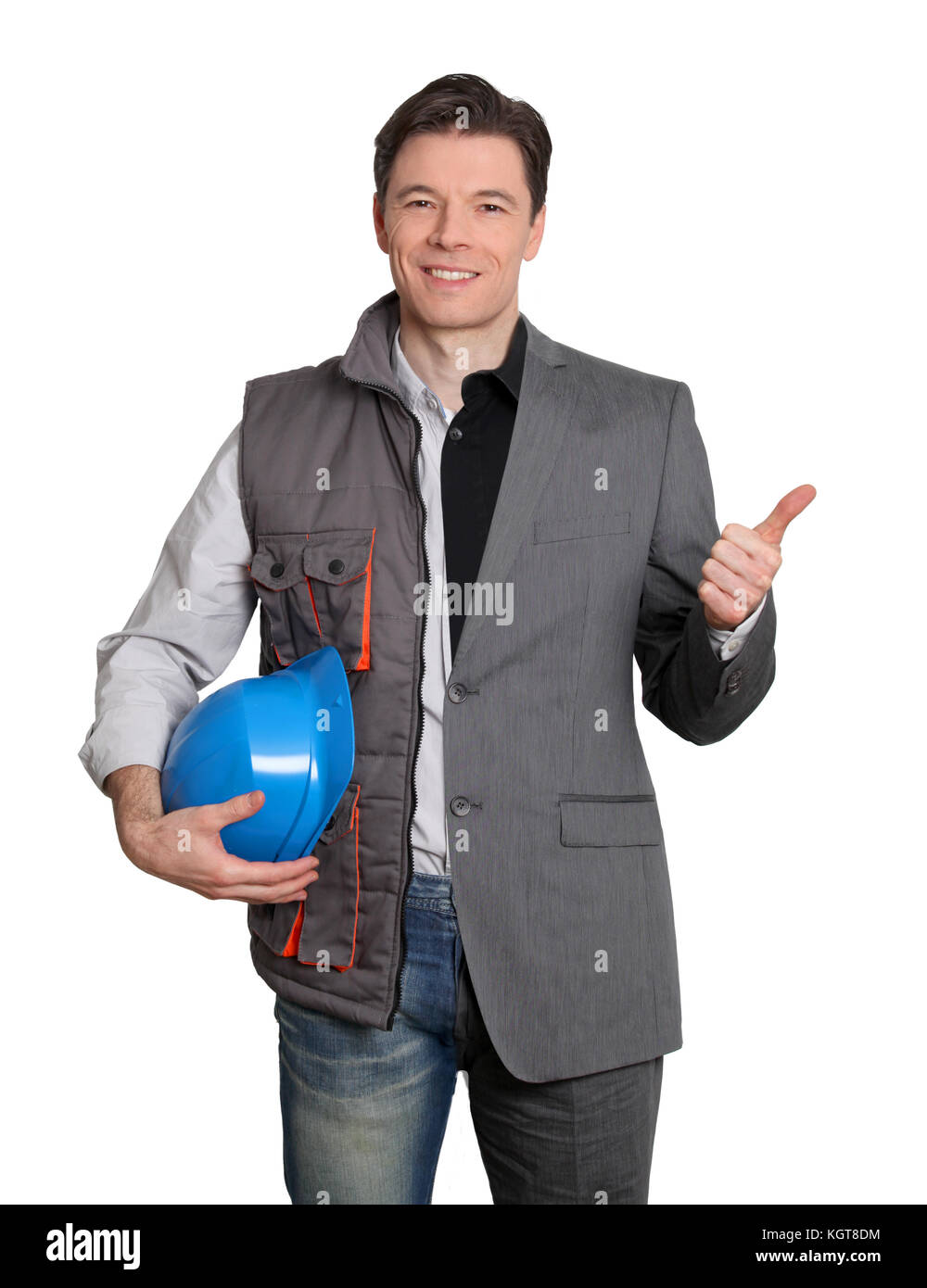 Foreman and executive standing on white background - Stock Image