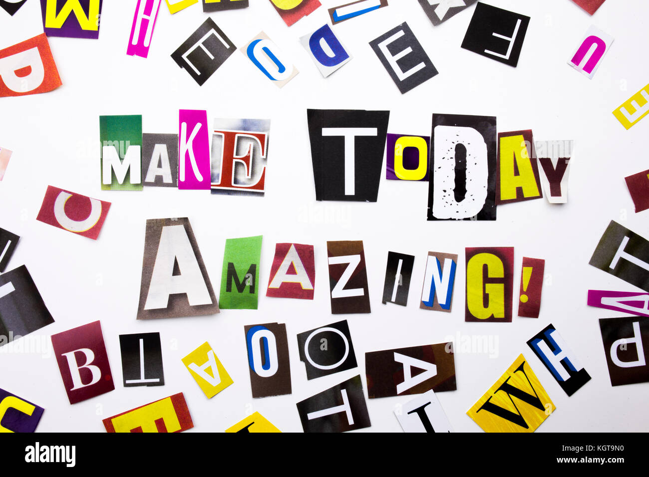 A word writing text showing concept of Make Today Amazing made of different magazine newspaper letter for Business Stock Photo
