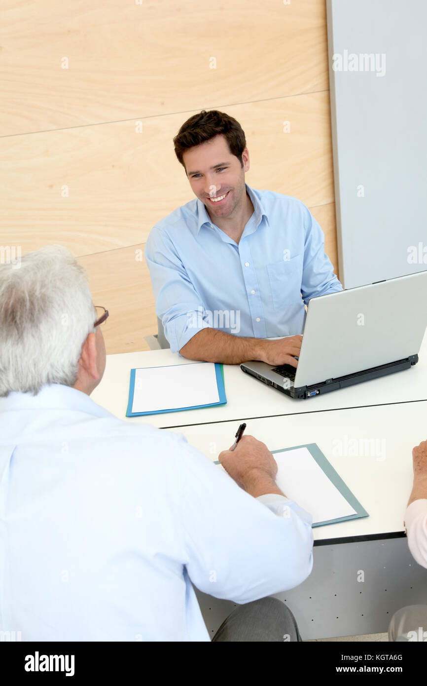 Senior people in job interview - Stock Image