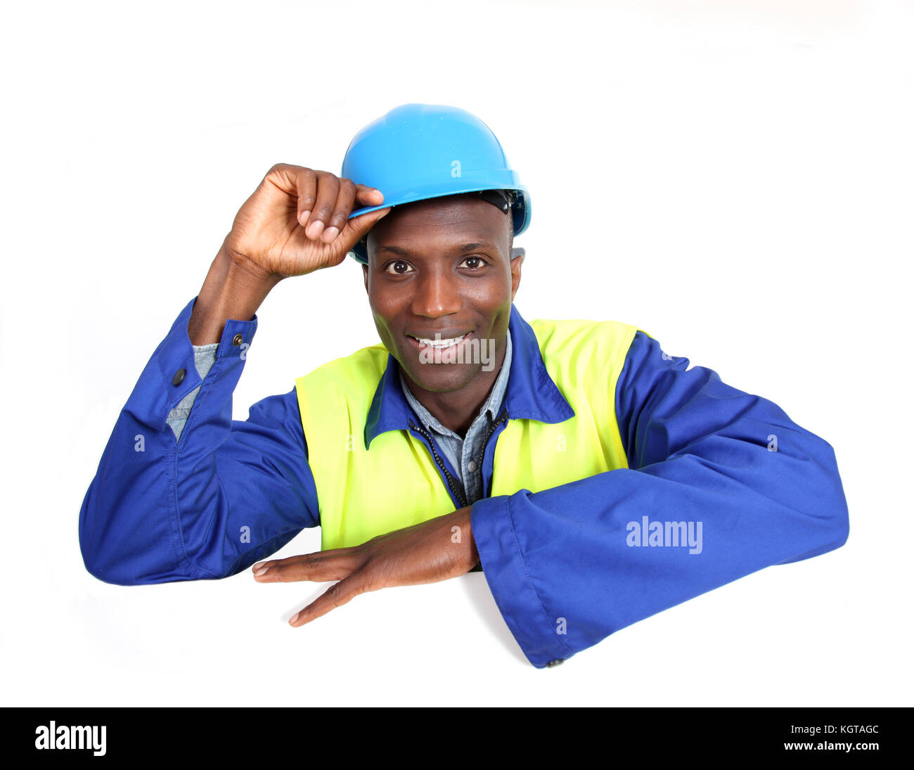 Construction worker with whiteboard isolated - Stock Image
