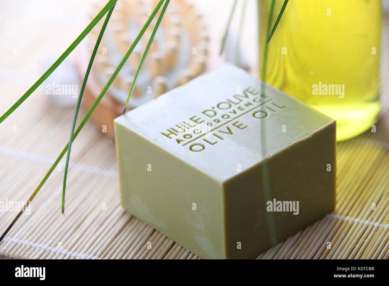 Closeup of olive oil soap bar - Stock Image