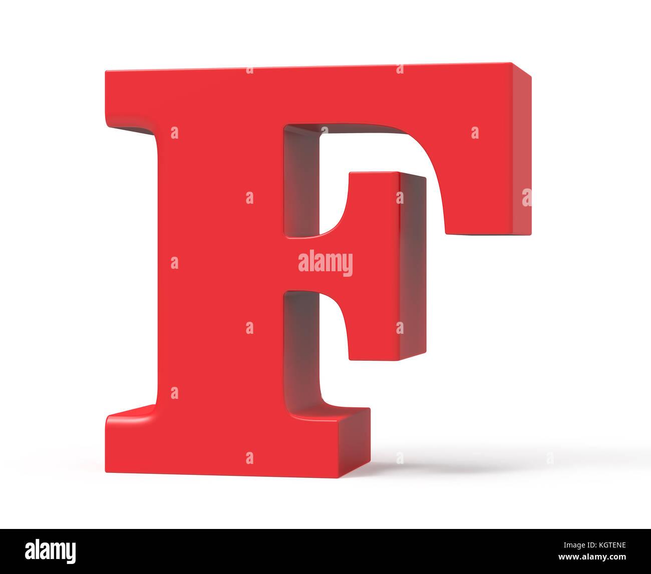 3D Render Red Alphabet F Retro Fat Font Design