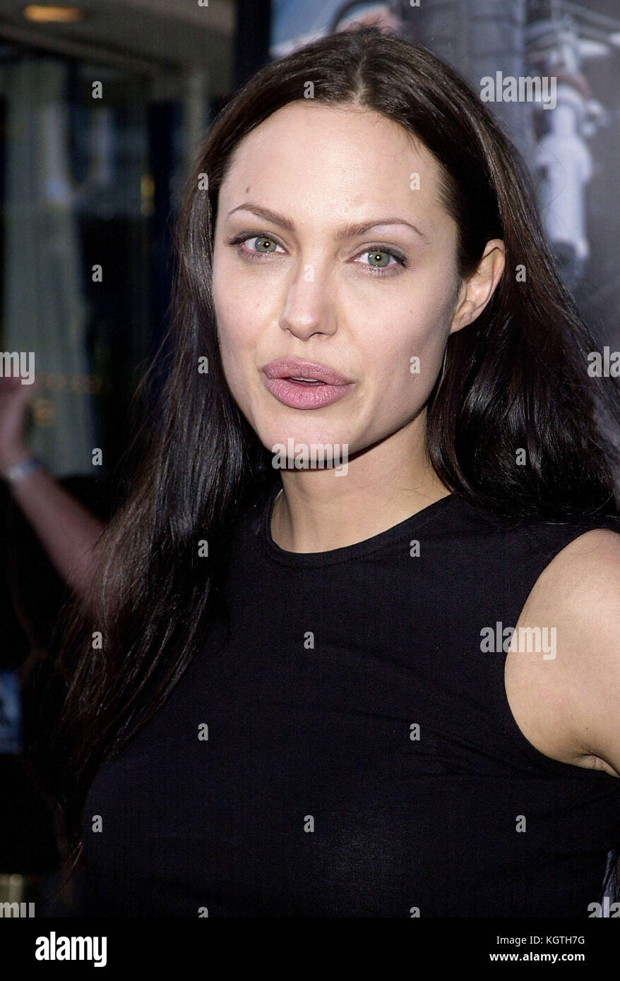 Angelina Jolie arriving at the Lara Croft: Tomb Raider premiere at the Westwood Village Theatre  in Los Angeles - Stock Image