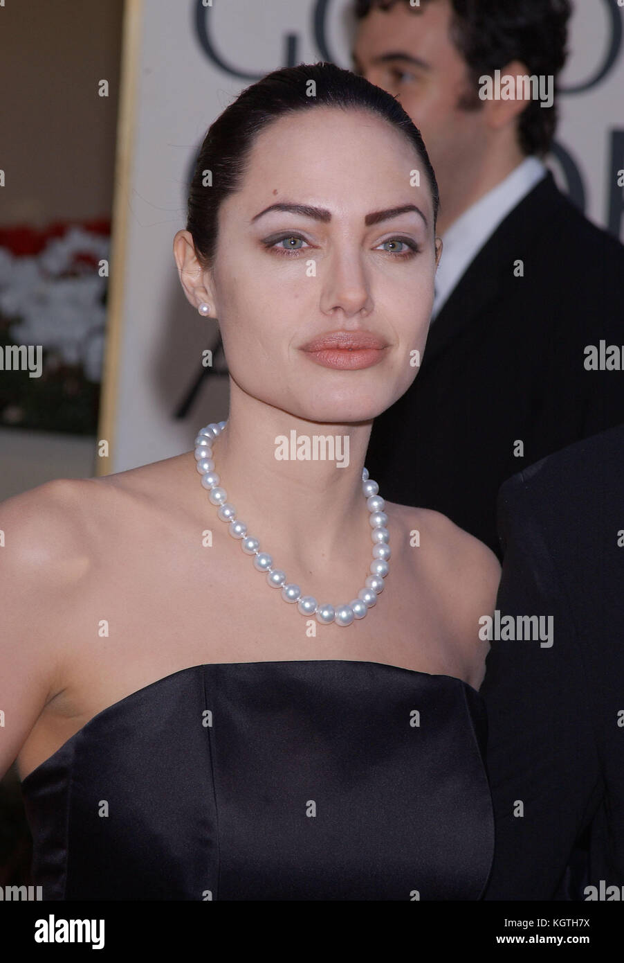 Angelina Jolie arrives at The 59th Annual Golden Globe Awards held at the Beverly Hilton Hotel in Los Angeles, Ca., - Stock Image
