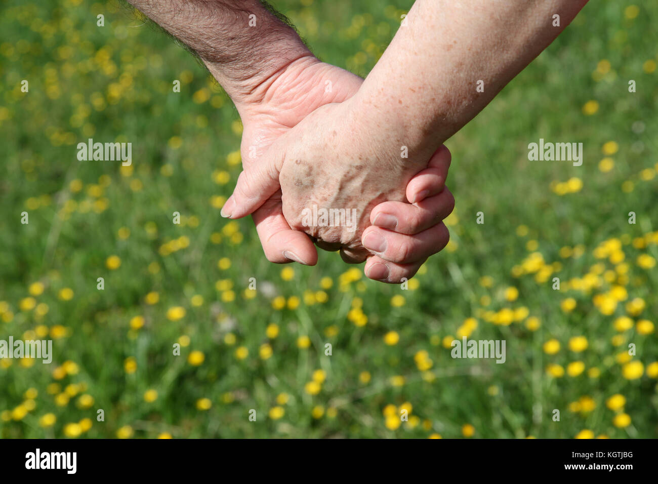 Closeup of senior couple holding hands - Stock Image