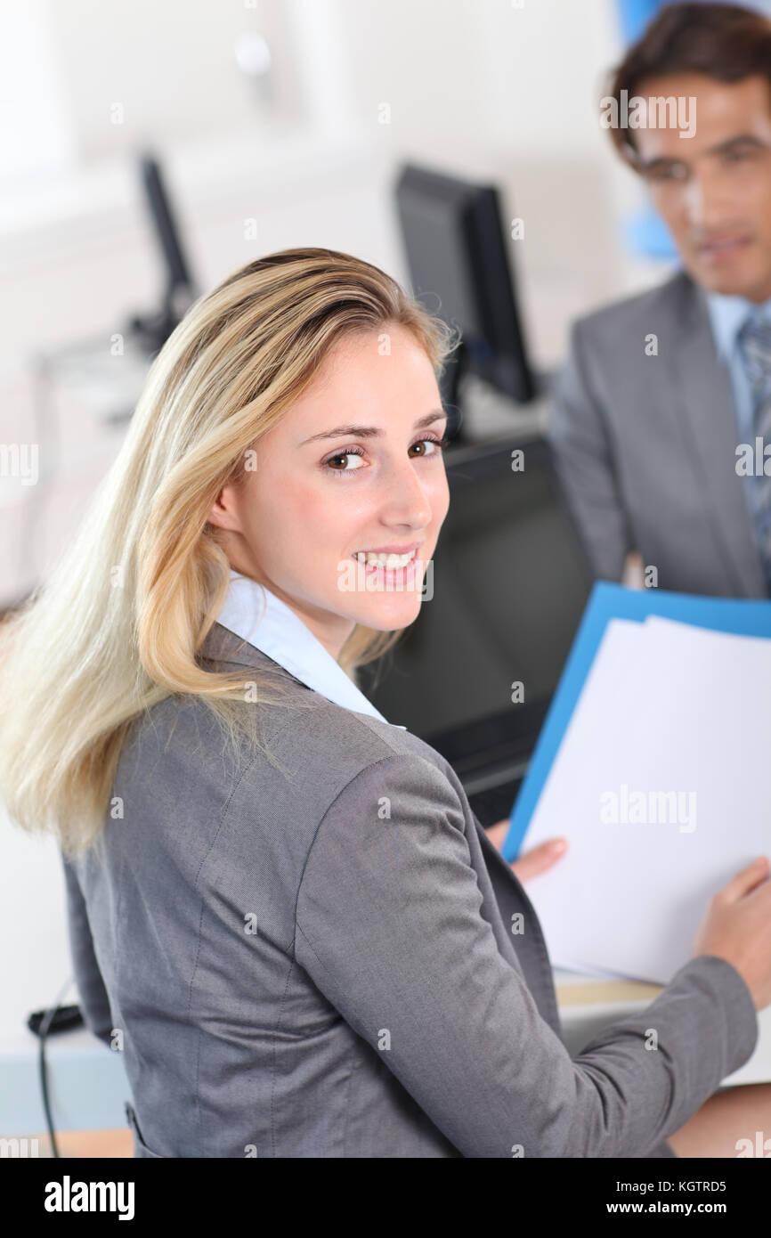 Woman attending job interview - Stock Image