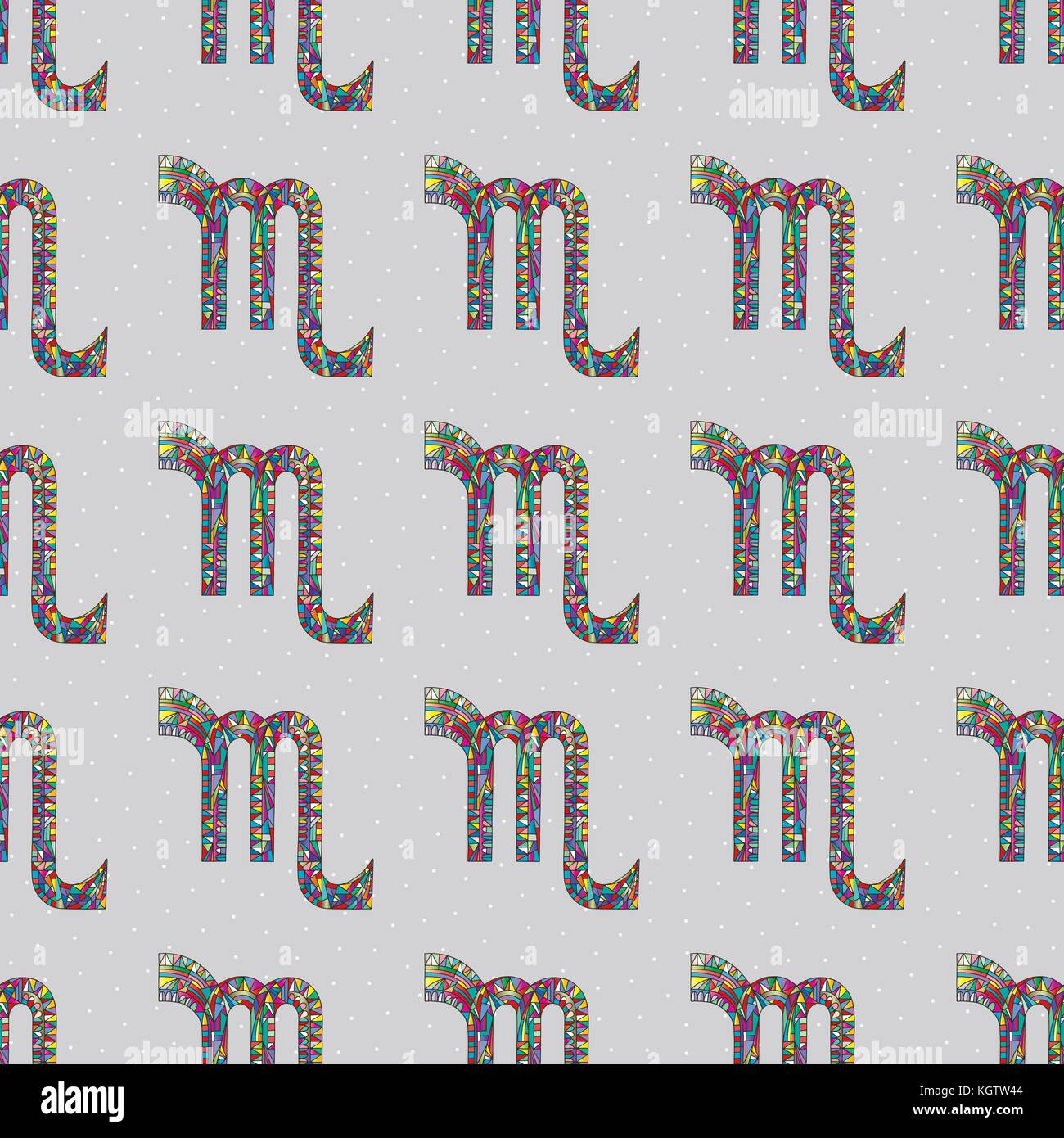 Scorpio zodiac sign seamless pattern. Horoscope magic symbol background. Hand drawn astrological colorful vector texture for wallpaper, wrapping, ...