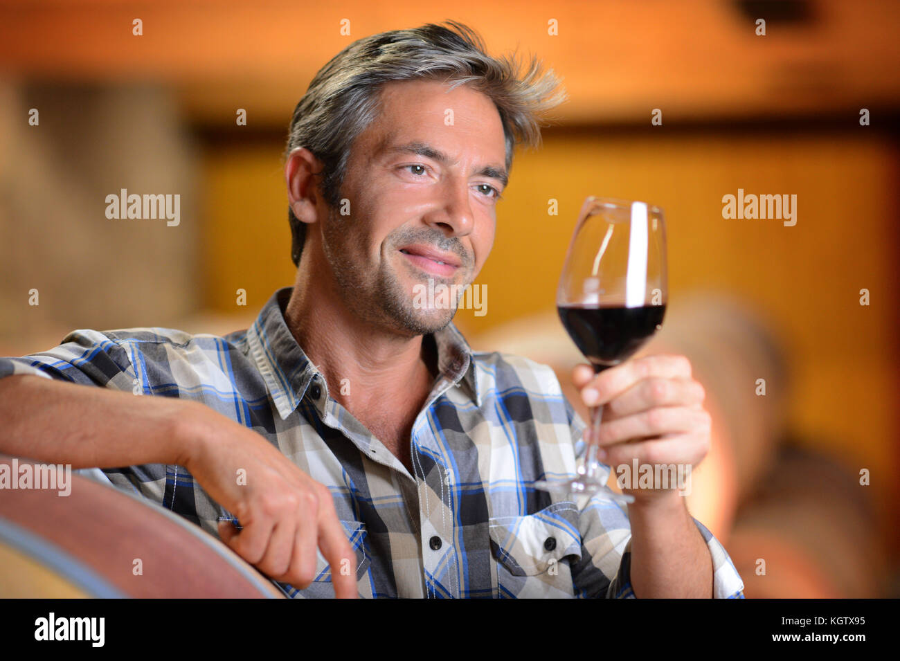 Winemaker looking at red wine in glass - Stock Image