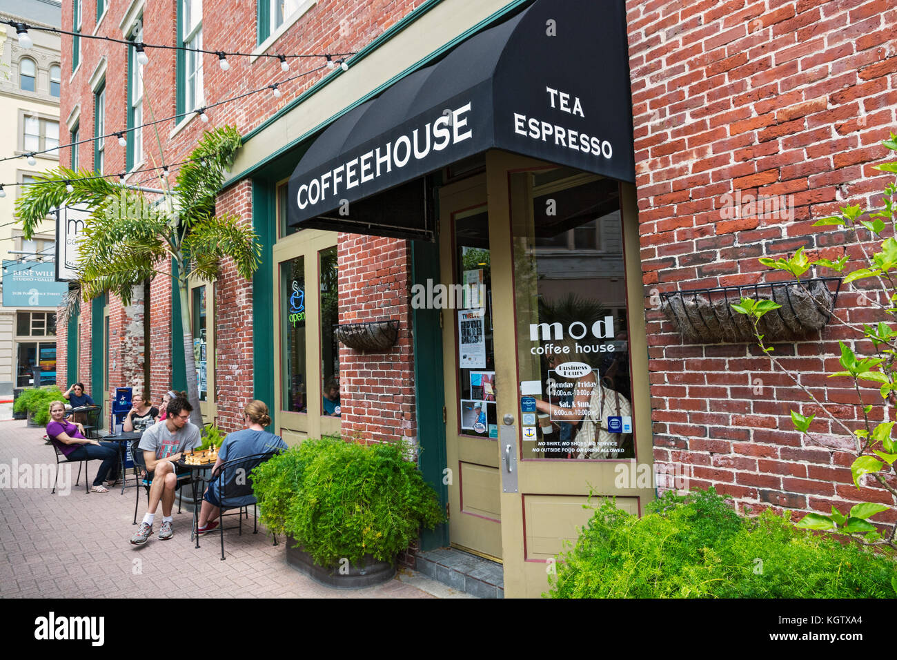Texas, Galveston, MOD Coffeehouse, 2126 Post Office Street - Stock Image