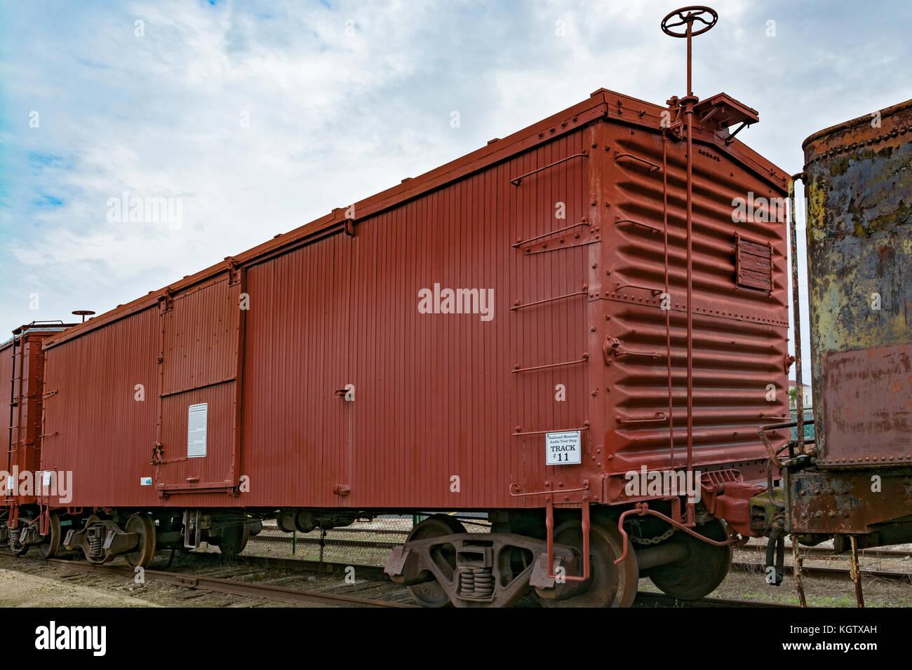 Texas, Galveston Railroad Museum, D&RGW Box Car #62746, built 1909, rare 36-foot long version, one of 1500 built - Stock Image