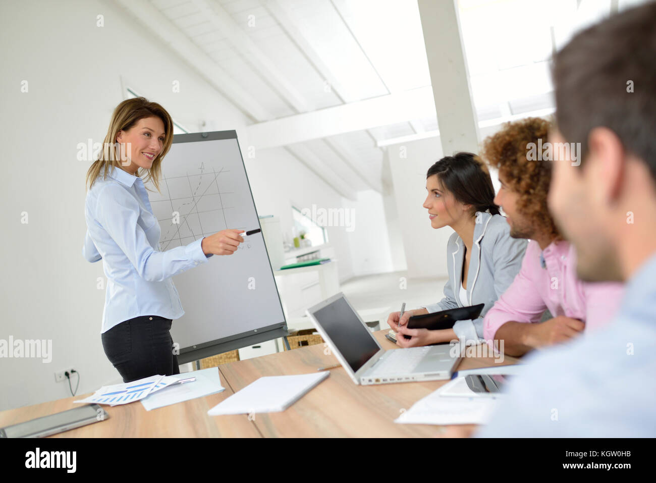 Manager doing business presentation on whiteboard - Stock Image