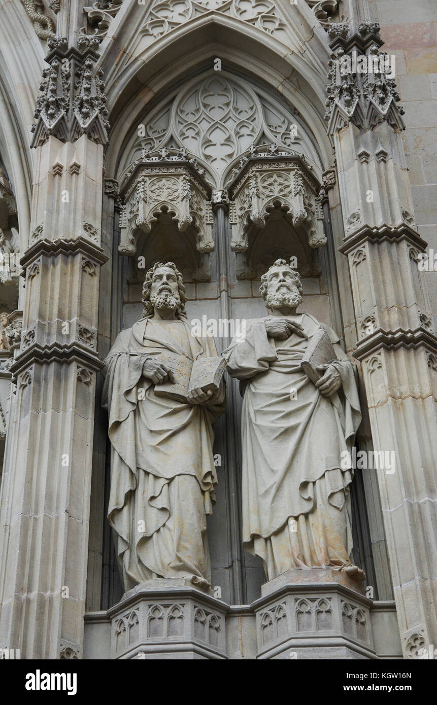 Statues of Saints in a Church in Barcelona Spain - Stock Image