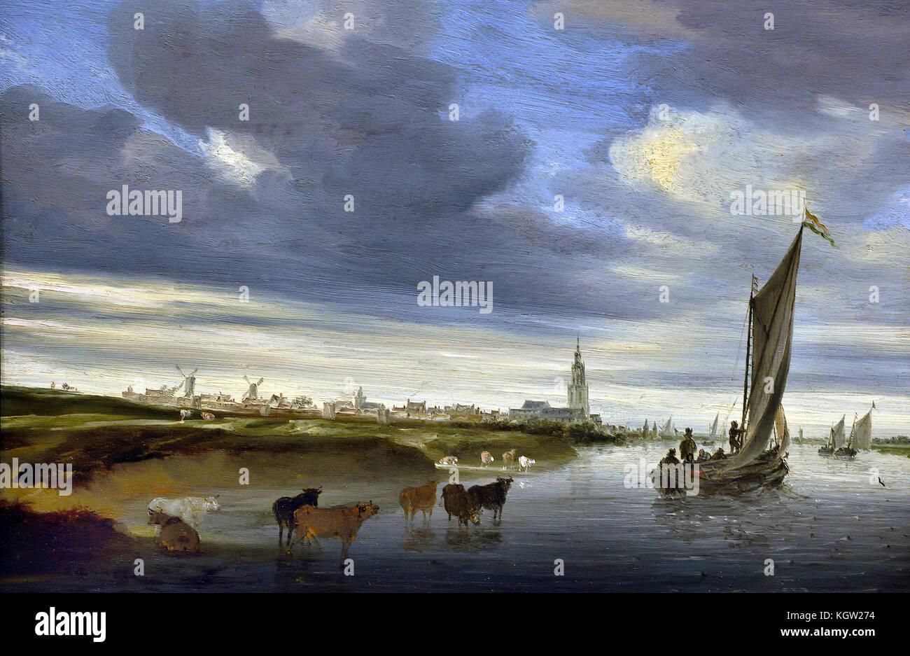 Salomon van Ruysdael (1600-1670) View of Rhenen ( 1648 ) Dutch Netherlands Stock Photo