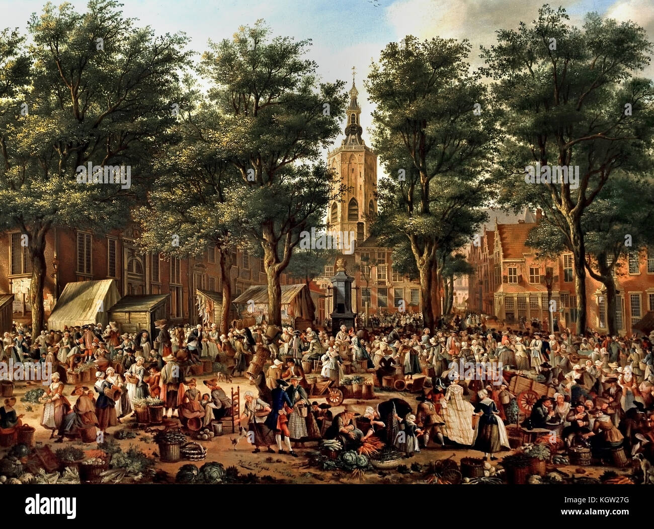 The Grote Markt at The Hague 1760, Paulus Constantijn La Fargue 1729 - 1782 Dutch Netherlands  ( The market square - Stock Image