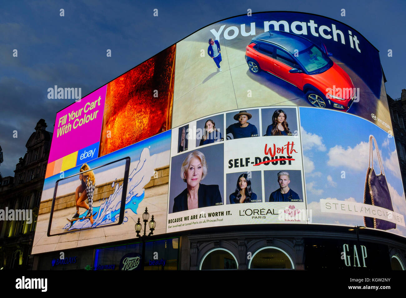 Piccadilly Circus new electronic advertising screens launched on 27th October 2017 - Stock Image