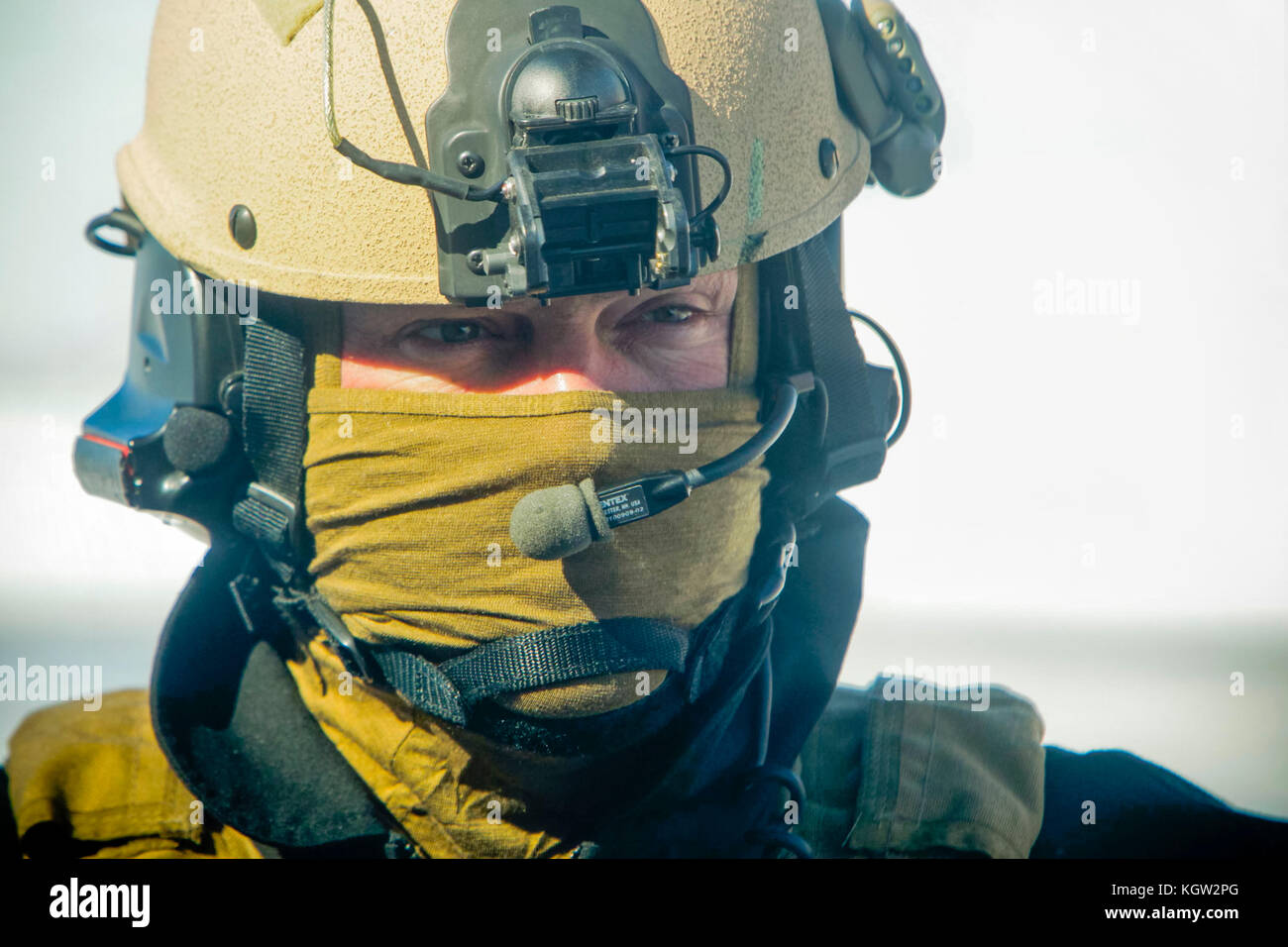 Close-up of United States Custom and Border Protection (USCBP) Air Interdiction Officer UH-60 Black Hawk helicopter - Stock Image