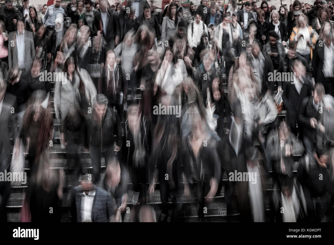 Crowd of people, London, UK - Stock Image