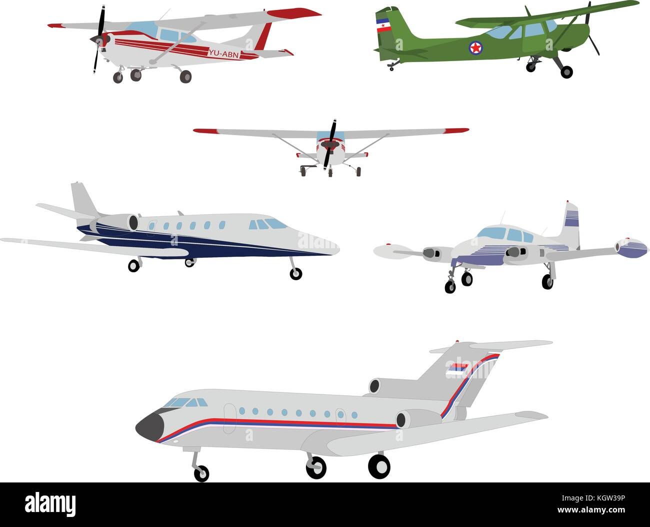 airplanes illustration - vector - Stock Vector